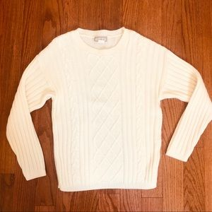 Alexis Reed Ivory Cable Knit Sweater Size Small
